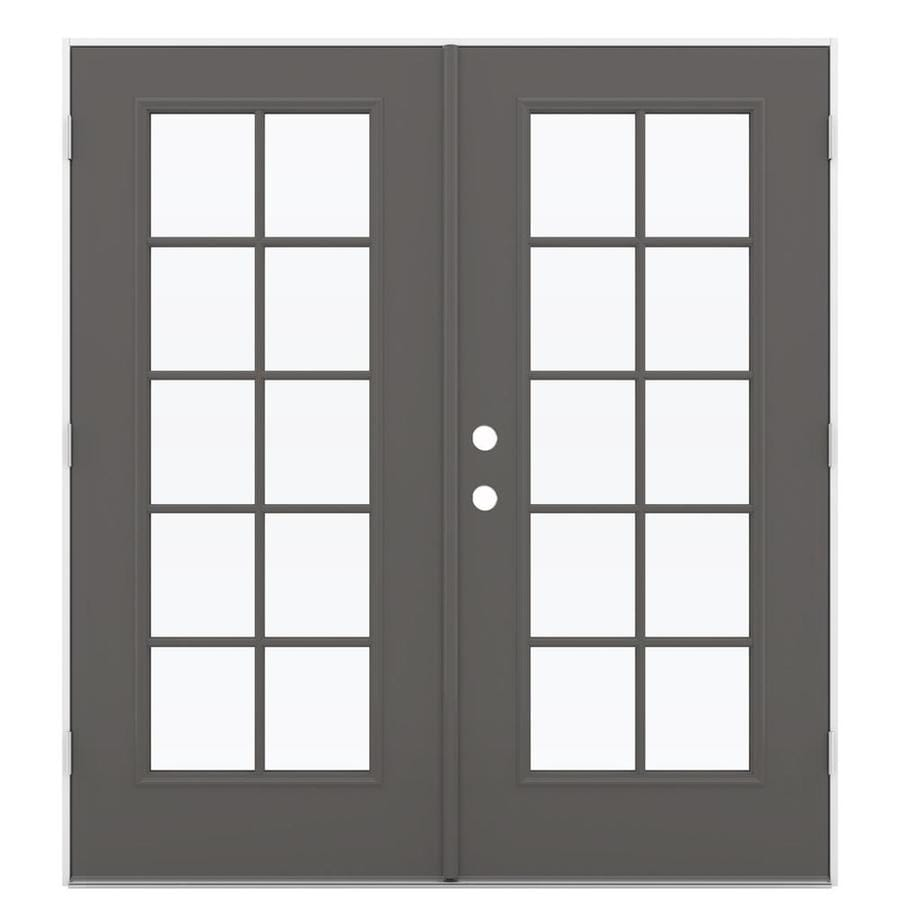 ReliaBilt 71.5-in 10-Lite Glass Timber Gray Steel French Outswing Patio Door