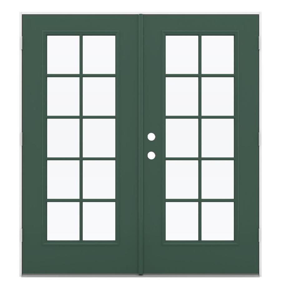 ReliaBilt 71.5-in 10-Lite Glass Evergreen Steel French Outswing Patio Door