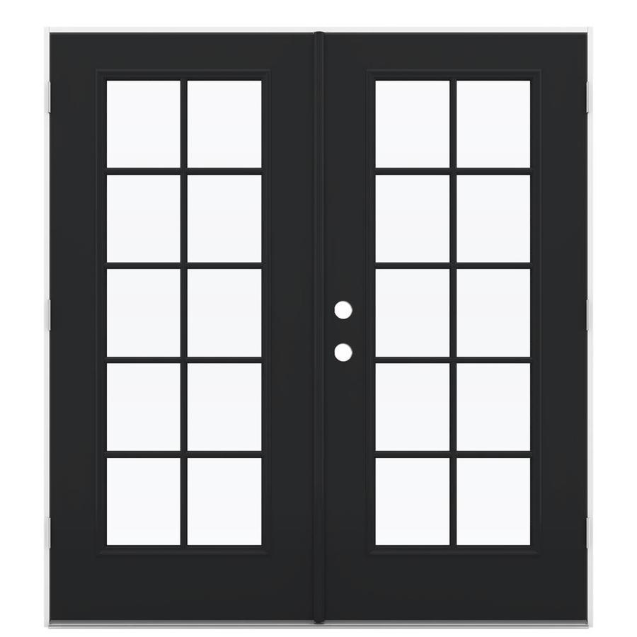 ReliaBilt 71.5-in 10-Lite Glass Peppercorn Steel French Outswing Patio Door