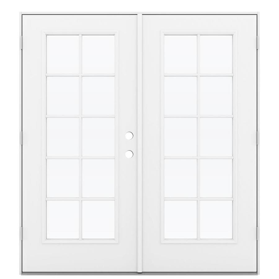ReliaBilt 71.5-in 10-Lite Glass Primed Steel French Outswing Patio Door