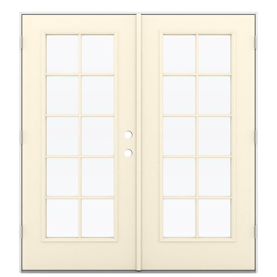 ReliaBilt 71.5-in 10-Lite Glass Bisque Steel French Outswing Patio Door