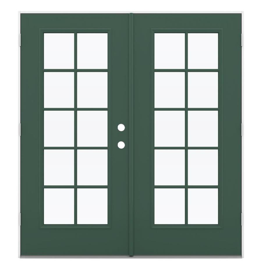 ReliaBilt 71.5-in 10-Lite Glass Evergreen Steel French Outswing Patio Door
