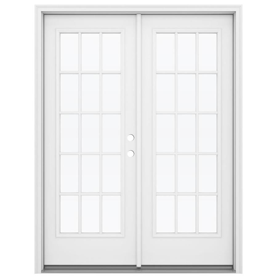 ReliaBilt 59.5-in 15-Lite Glass Primed Steel French Inswing Patio Door