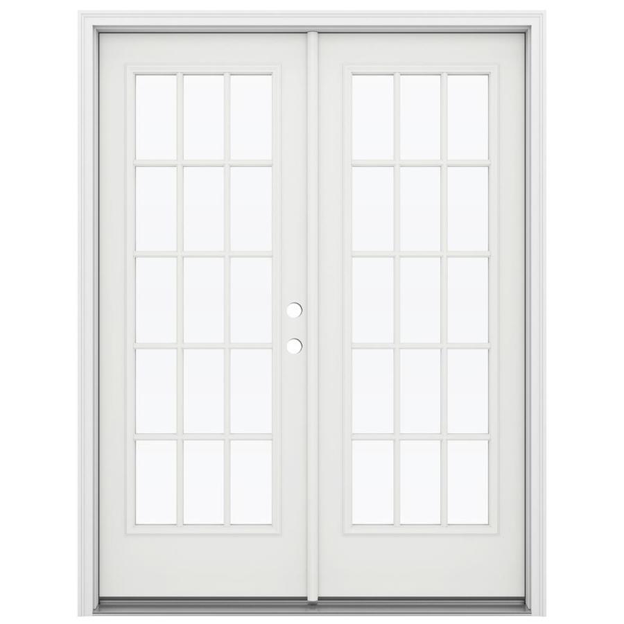 ReliaBilt 59.5-in 15-Lite Glass Arctic White Steel French Inswing Patio Door
