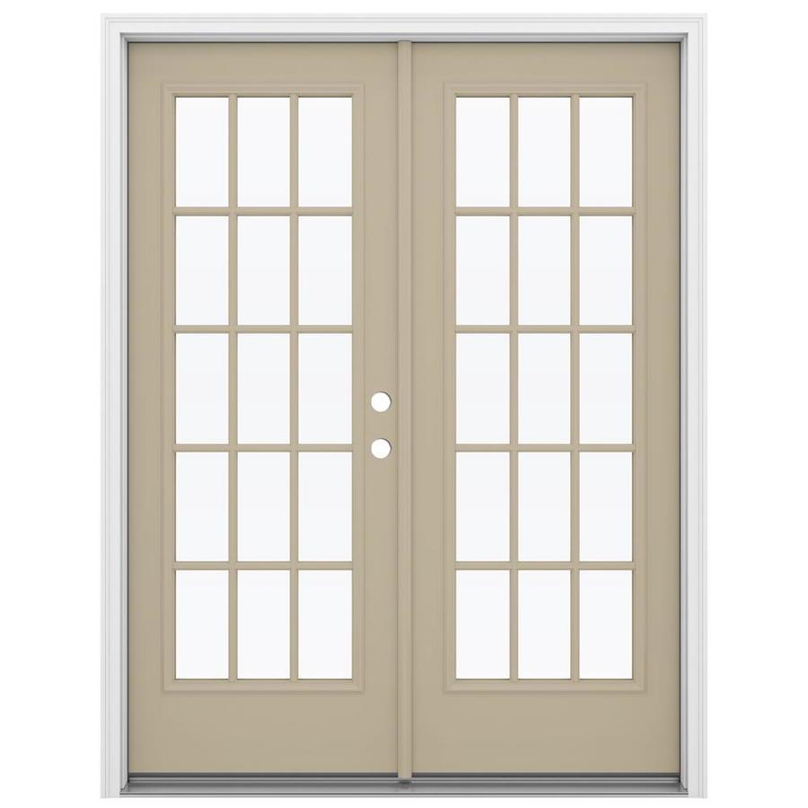 ReliaBilt 59.5-in 15-Lite Glass Sandy Shore Steel French Inswing Patio Door