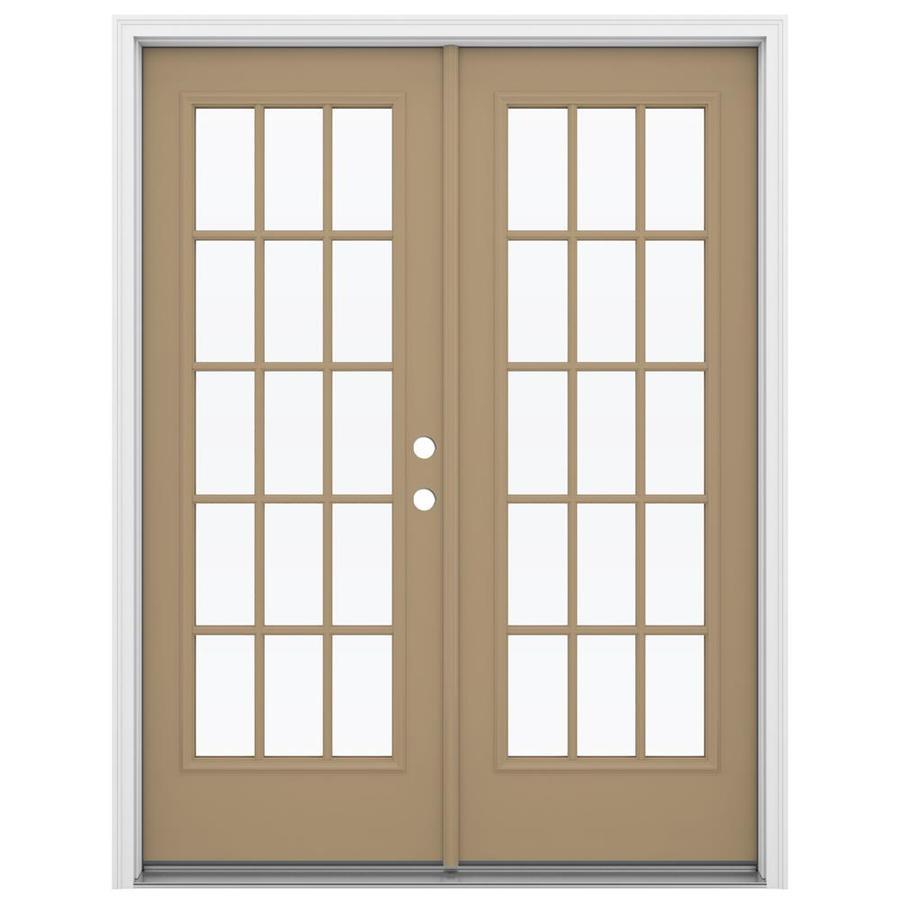 ReliaBilt 59.5-in 15-Lite Glass Warm Wheat Steel French Inswing Patio Door