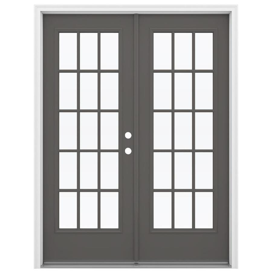 ReliaBilt 59.5-in 15-Lite Glass Timber Gray Steel French Inswing Patio Door
