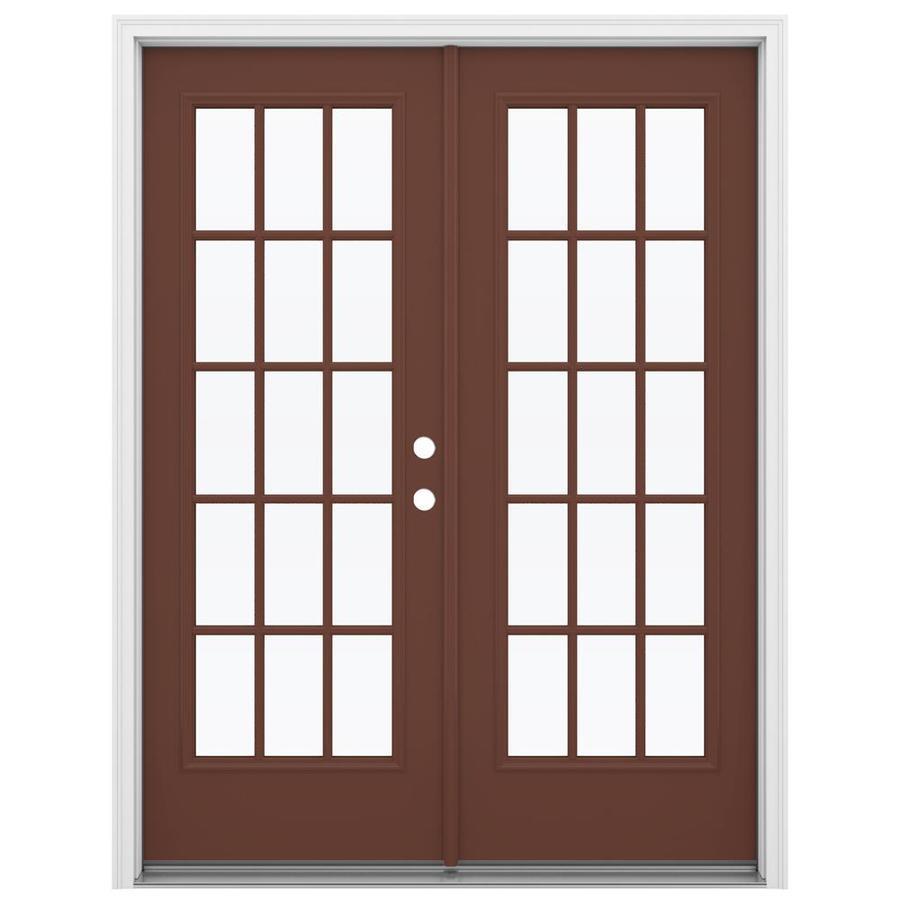 ReliaBilt 59.5-in 15-Lite Glass Foxtail Steel French Inswing Patio Door