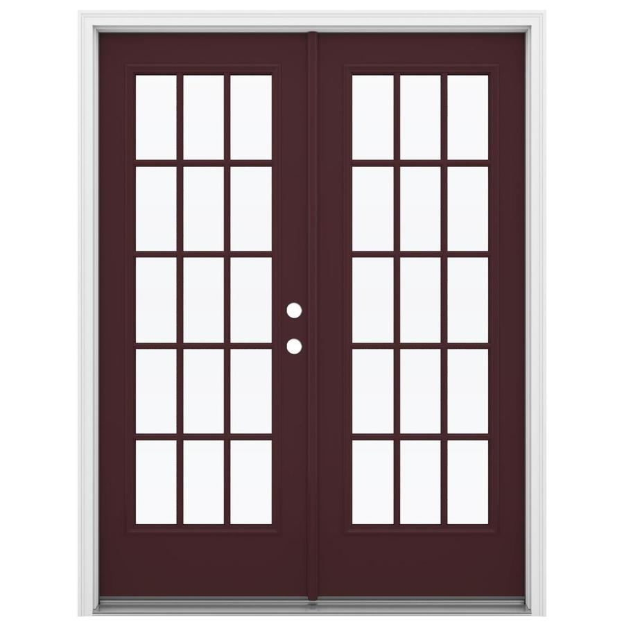 ReliaBilt 59.5-in 15-Lite Glass Currant Steel French Inswing Patio Door