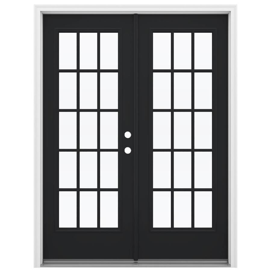 ReliaBilt 59.5-in 15-Lite Glass Peppercorn Steel French Inswing Patio Door