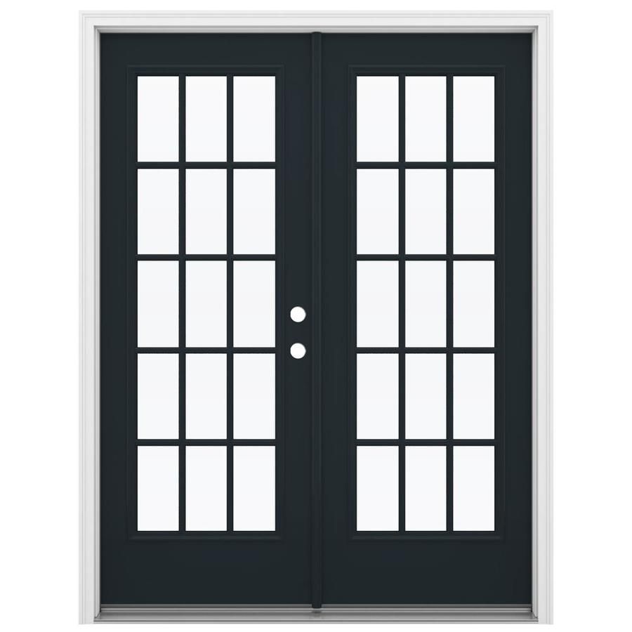 ReliaBilt 59.5-in 15-Lite Glass Eclipse Steel French Inswing Patio Door