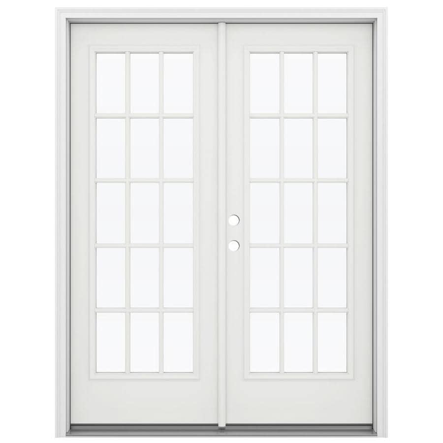 ReliaBilt 59.5-in 15-Lite Glass Arctic White Steel French Inswing Patio Door