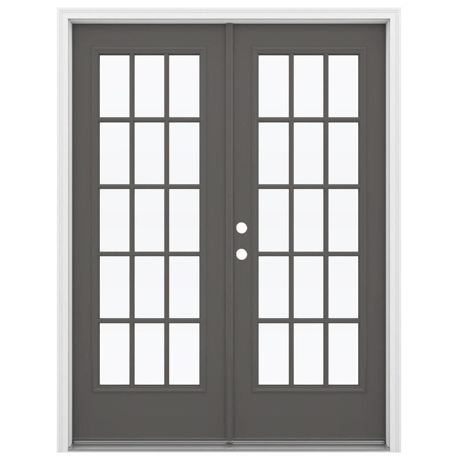 ReliaBilt 59.5-in x 79.5-in Right-Hand Inswing Gray Steel French Patio Door
