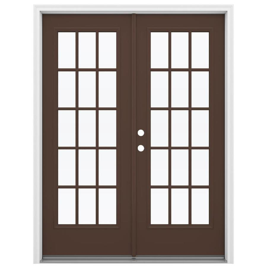 Shop reliabilt 59 5 in 15 lite glass chococate steel for French doors lowes