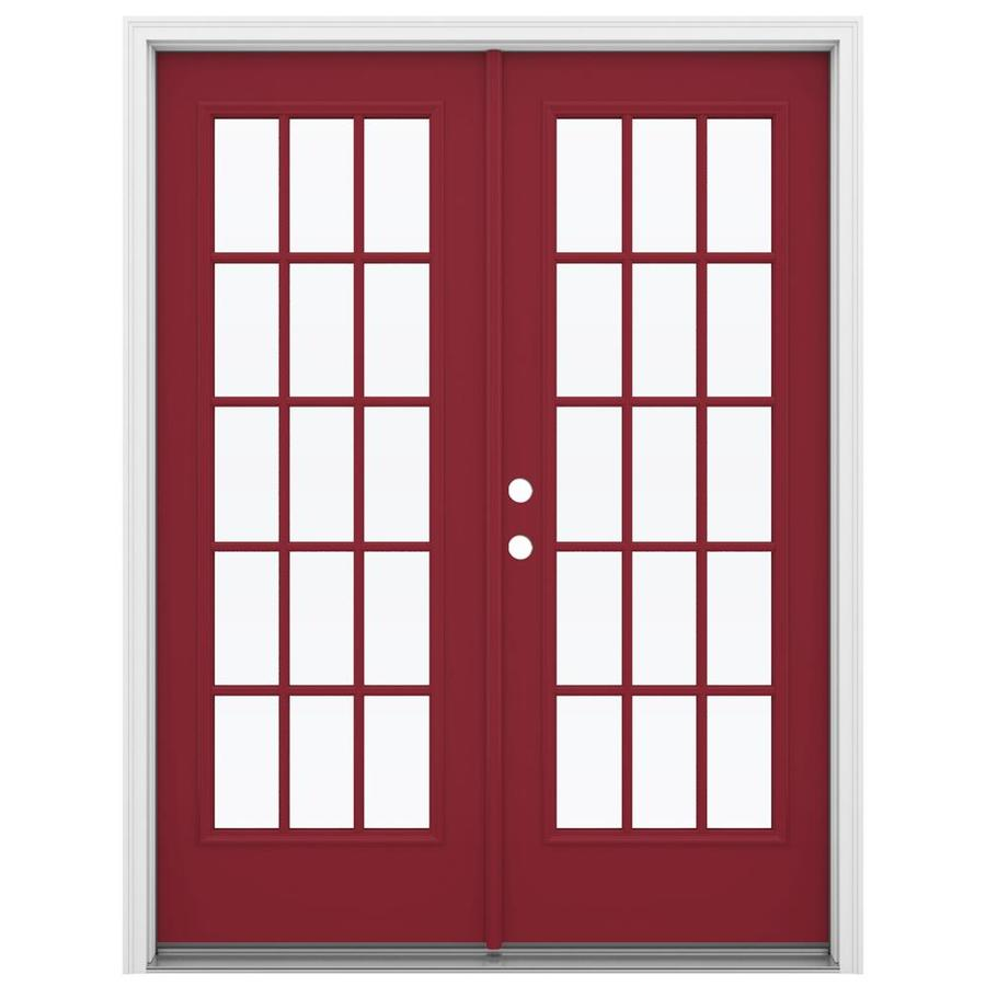 ReliaBilt 59.5-in 15-Lite Glass Roma Red Steel French Inswing Patio Door