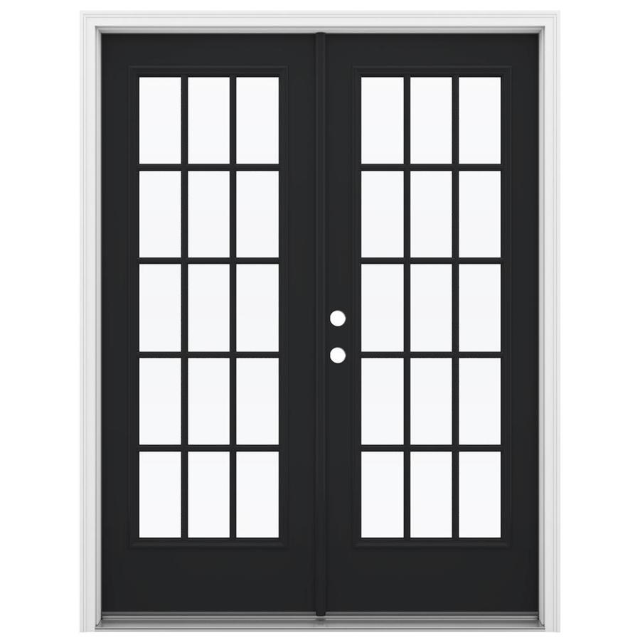ReliaBilt 59.5-in 15-Lite Glass Peppercorn Steel French Inswing Patio Door