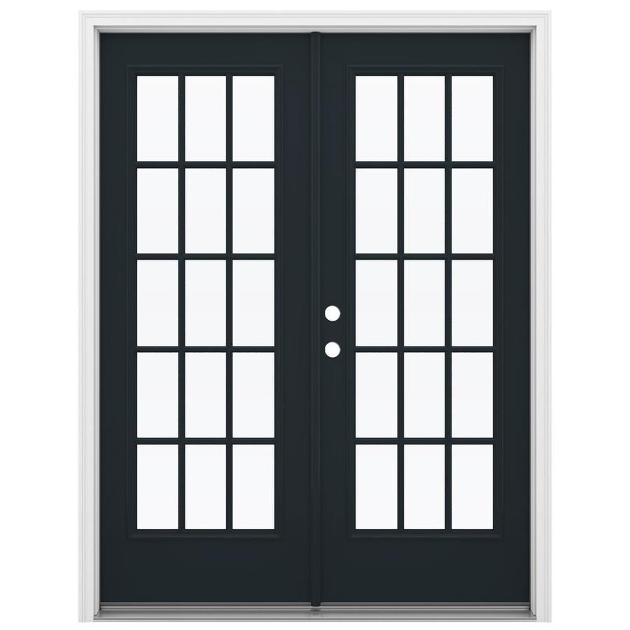 ReliaBilt 59.5-in 15-Lite Glass Eclipse Steel French Inswing Patio Door