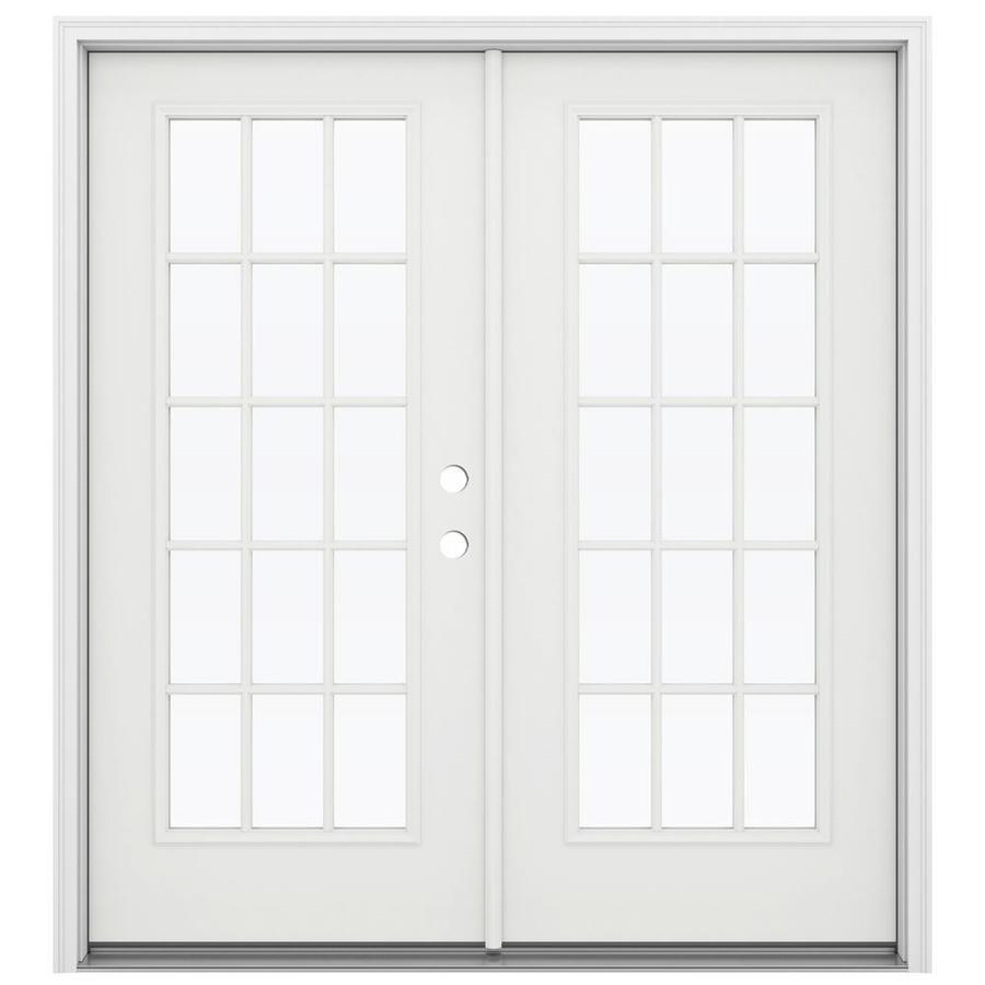 ReliaBilt 71.5-in 15-Lite Glass Arctic White Steel French Inswing Patio Door