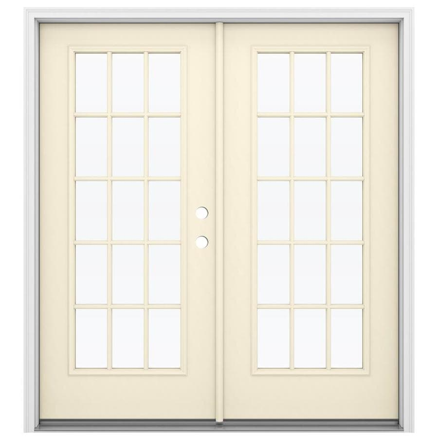 Shop reliabilt 71 5 in 15 lite glass bisque steel french for Glass french doors