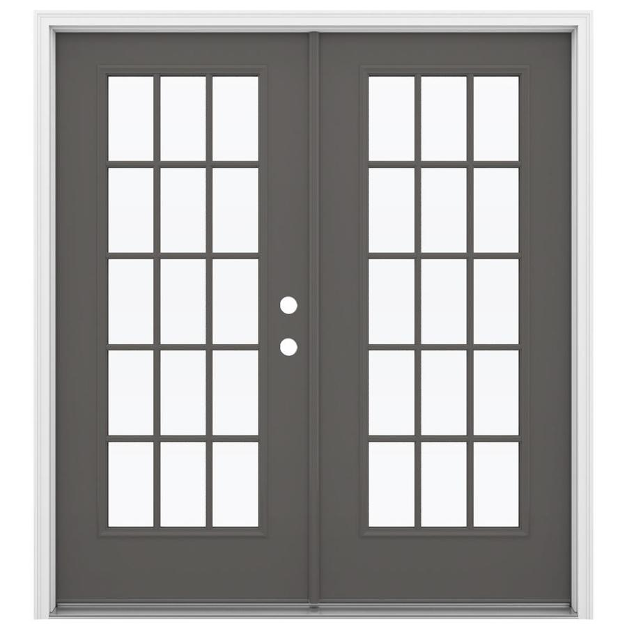 Shop Jeld Wen 71 5 In X 79 5 In Left Hand Inswing Gray Steel French Patio Door At
