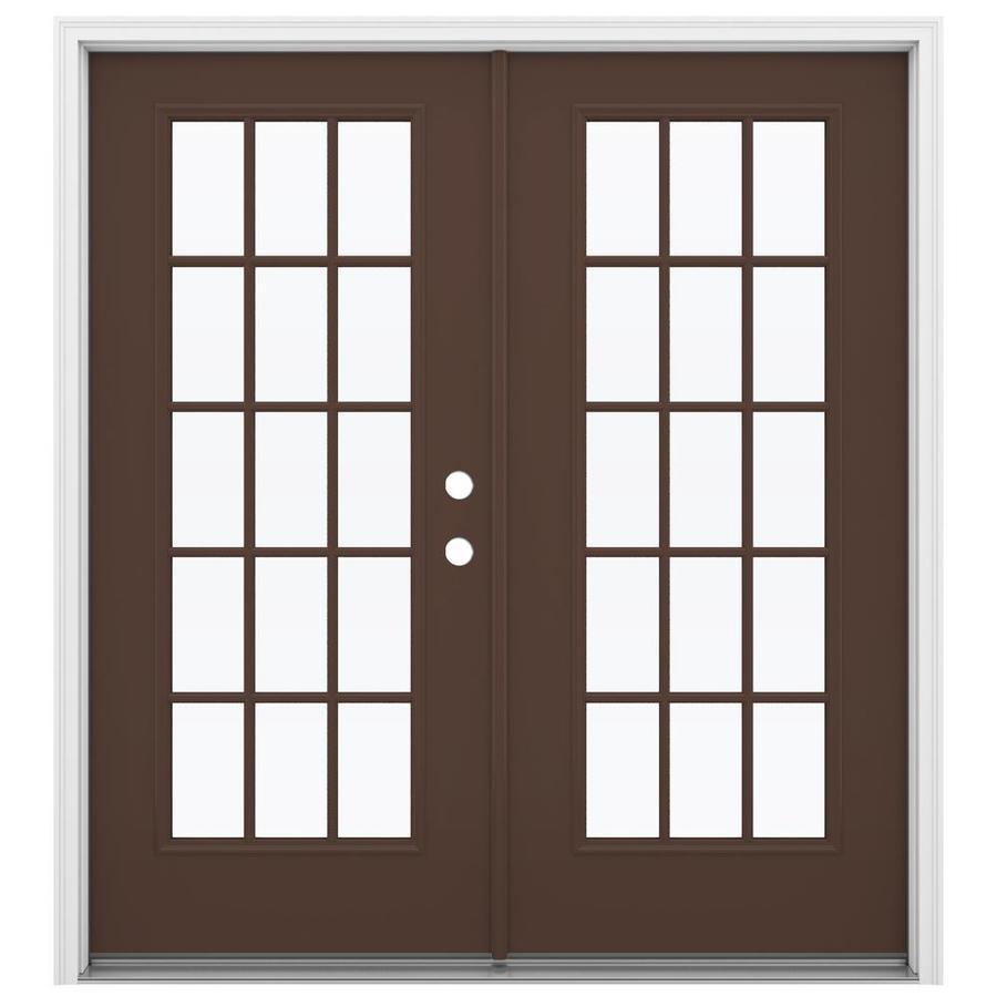 Shop Jeld Wen 71 5 In X 79 5 In Left Hand Inswing Steel French Patio Door At