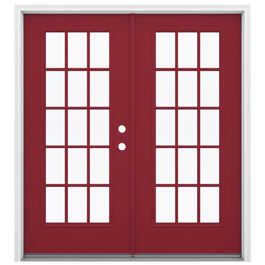 ReliaBilt 71.5-in 15-Lite Glass Roma Red Steel French Inswing Patio Door