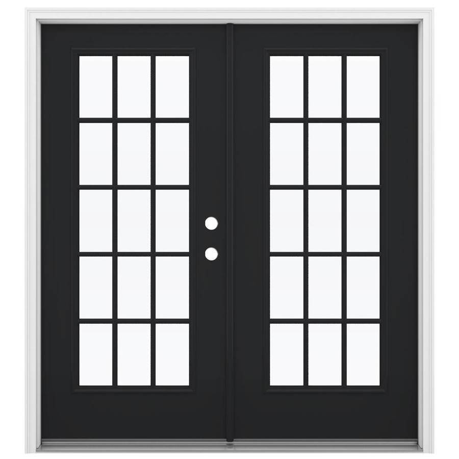 ReliaBilt 71.5-in x 79.5-in Left-Hand Inswing Steel French Patio Door