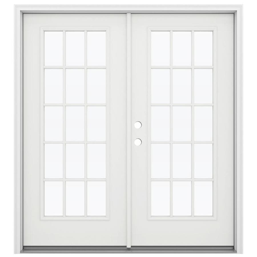 ReliaBilt 71.5-in 15-Lite Glass Arctic White Steel French Inswing Patio Door