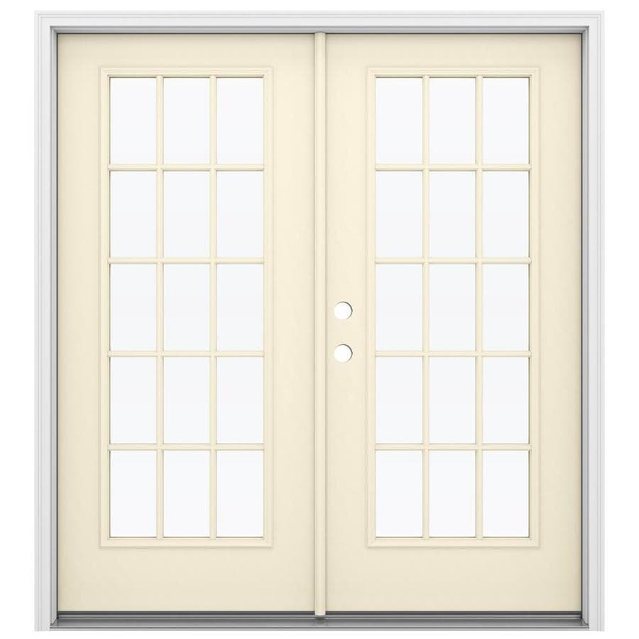 Shop reliabilt 71 5 in 15 lite glass bisque steel french for 15 lite french door