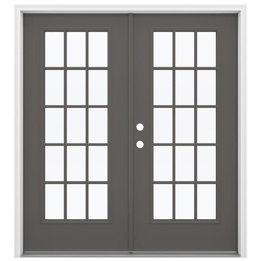ReliaBilt 71.5-in 15-Lite Glass Timber Gray Steel French Inswing Patio Door