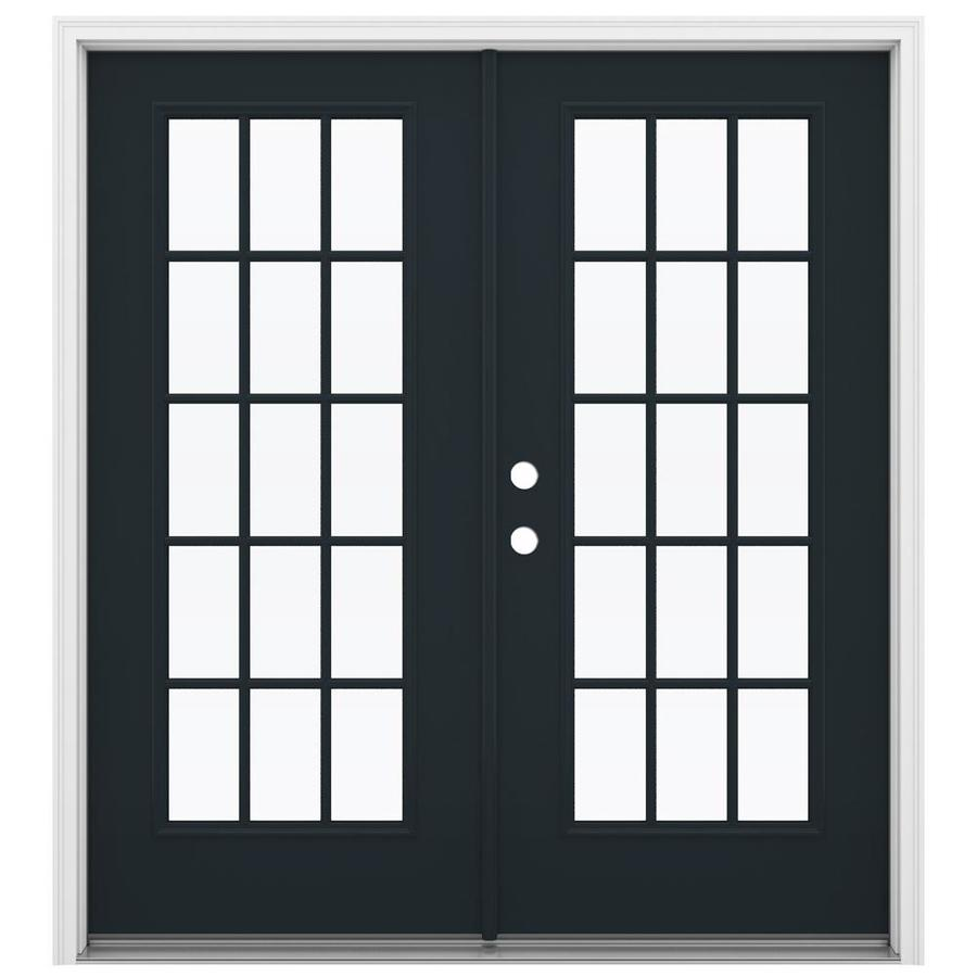 ReliaBilt 71.5-in 15-Lite Glass Eclipse Steel French Inswing Patio Door