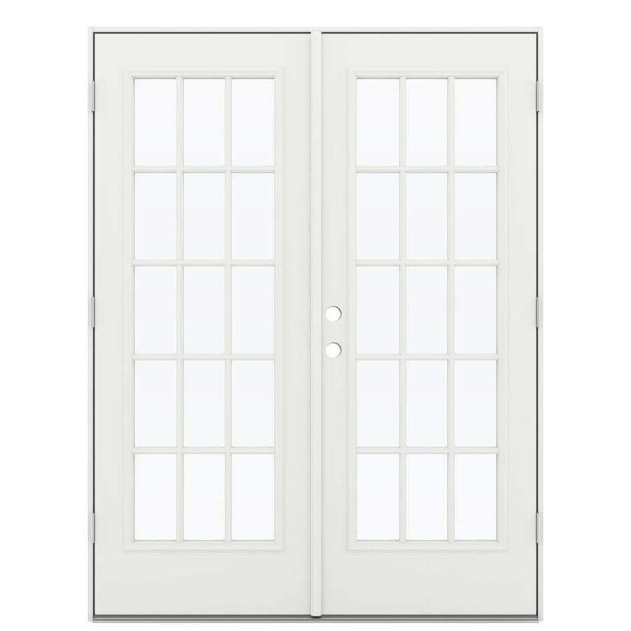 ReliaBilt 59.5-in x 79.5-in Left-Hand Outswing White Steel French Patio Door