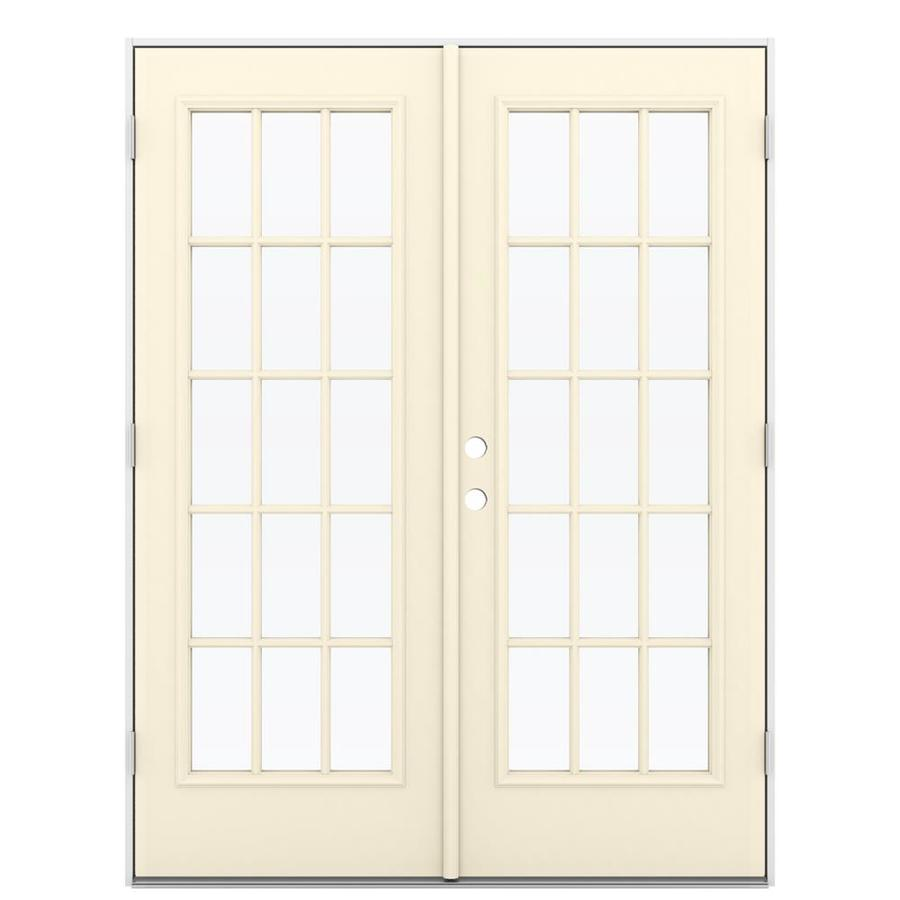 Shop reliabilt 59 5 in 15 lite glass bisque steel french for Outswing french doors