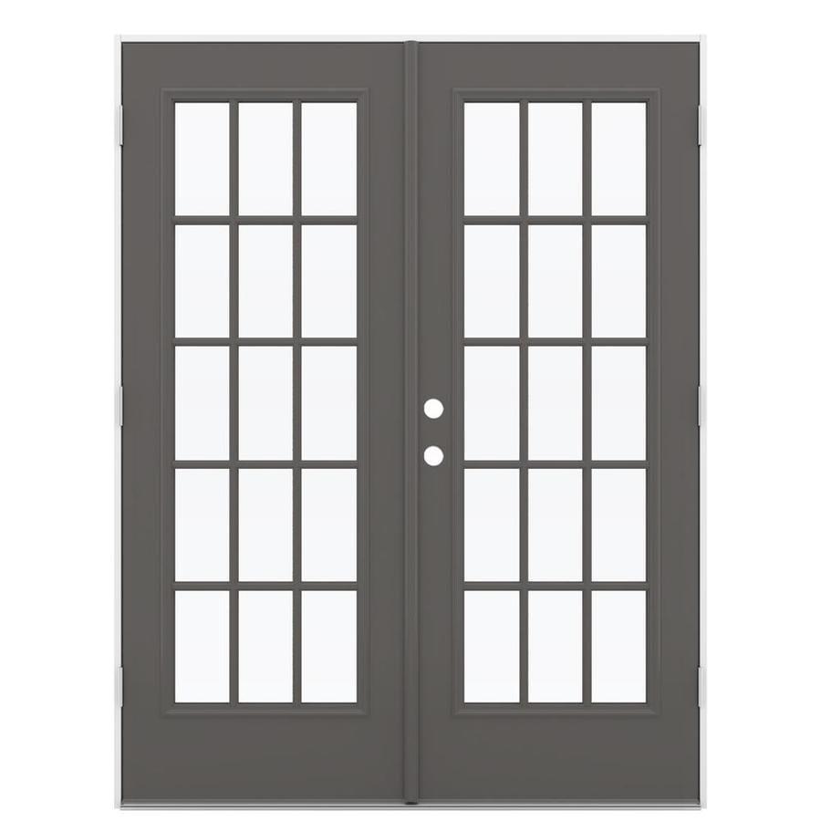ReliaBilt 59.5-in x 79.5-in Left-Hand Outswing Gray Steel French Patio Door