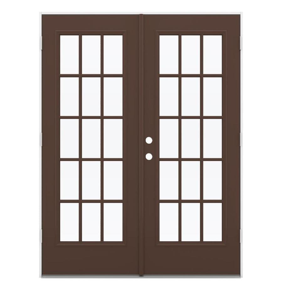 ReliaBilt 59.5-in x 79.5-in Left-Hand Outswing Steel French Patio Door