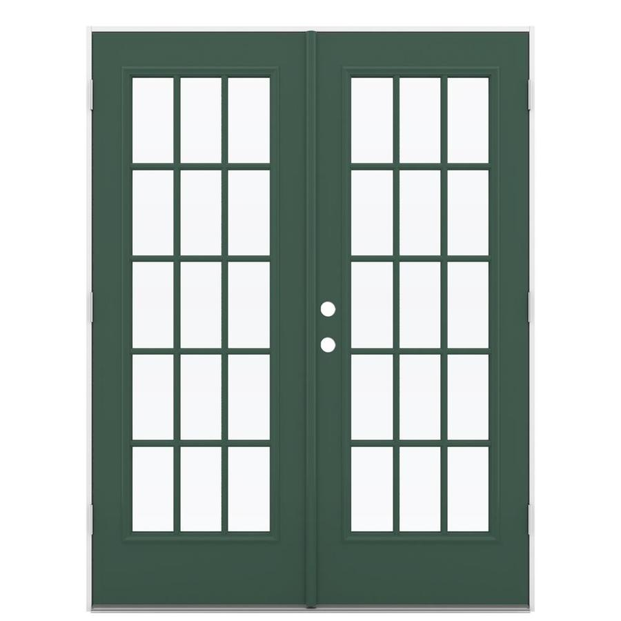 ReliaBilt 59.5-in 15-Lite Glass Evergreen Steel French Outswing Patio Door