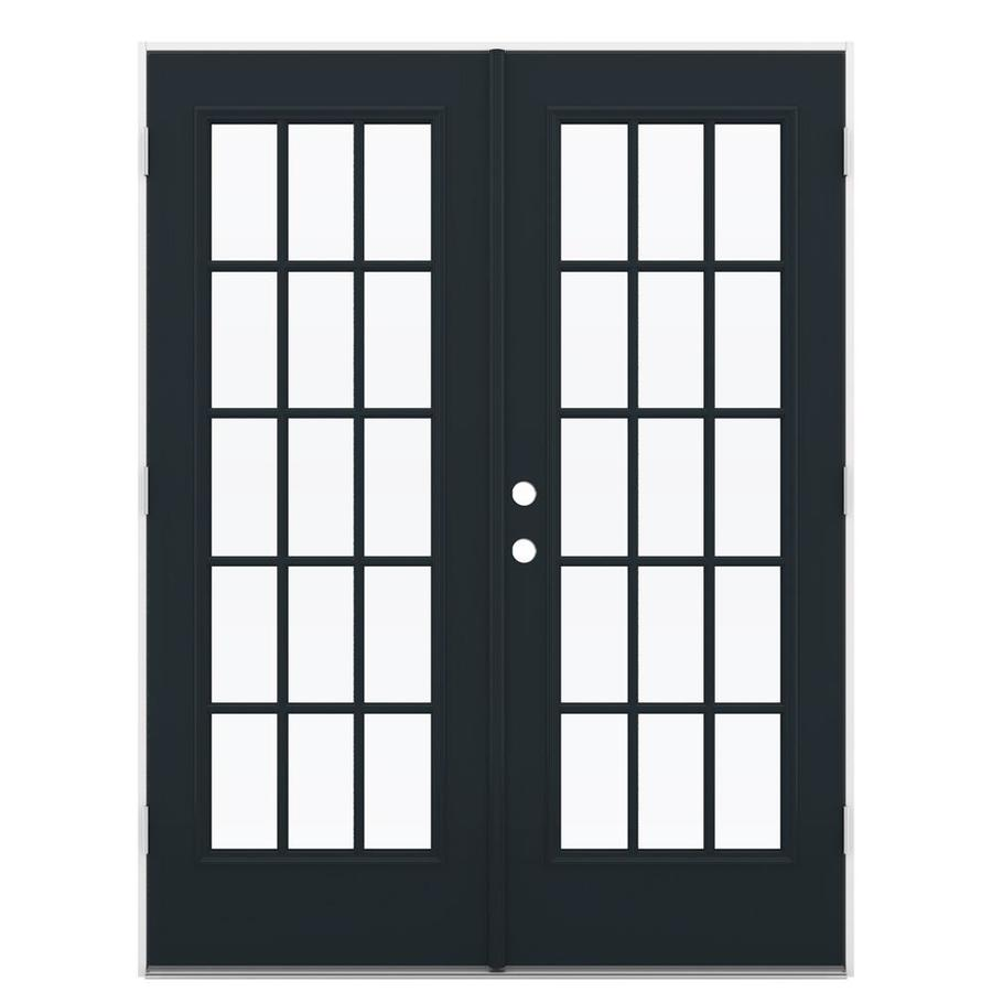 ReliaBilt 59.5-in 15-Lite Glass Eclipse Steel French Outswing Patio Door