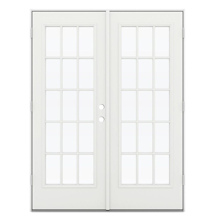 ReliaBilt 59.5-in 15-Lite Glass Arctic White Steel French Outswing Patio Door
