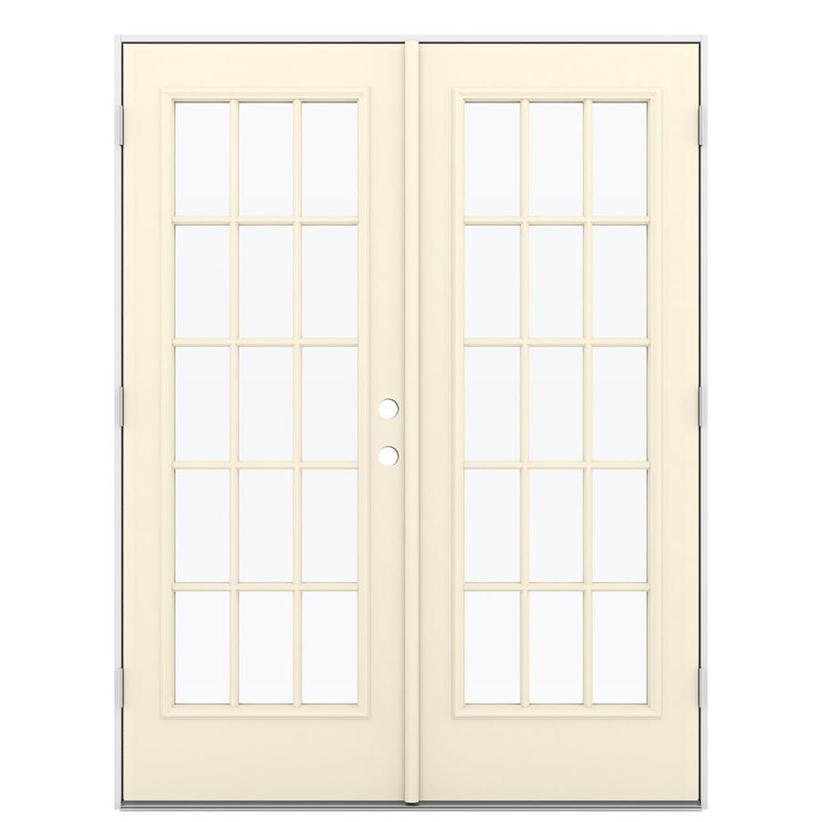 ReliaBilt 59.5-in 15-Lite Glass Bisque Steel French Outswing Patio Door