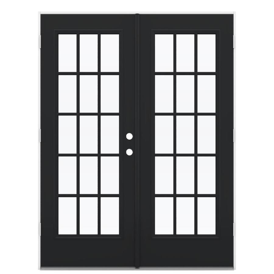 ReliaBilt 59.5-in 15-Lite Glass Peppercorn Steel French Outswing Patio Door