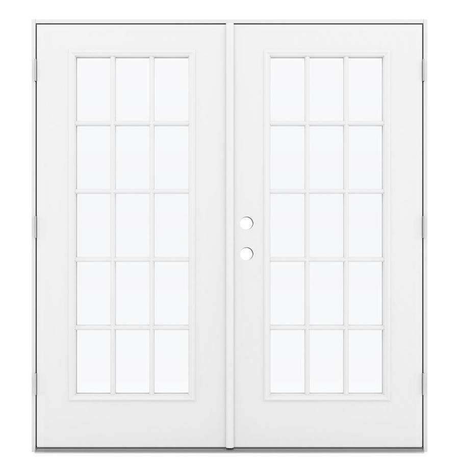 ReliaBilt 71.5-in x 79.5-in Left-Hand Outswing Steel French Patio Door