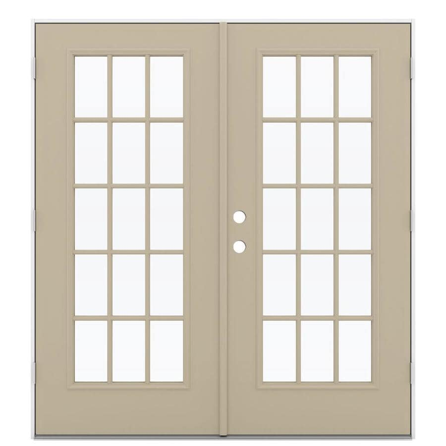 ReliaBilt 71.5-in 15-Lite Glass Sandy Shore Steel French Outswing Patio Door