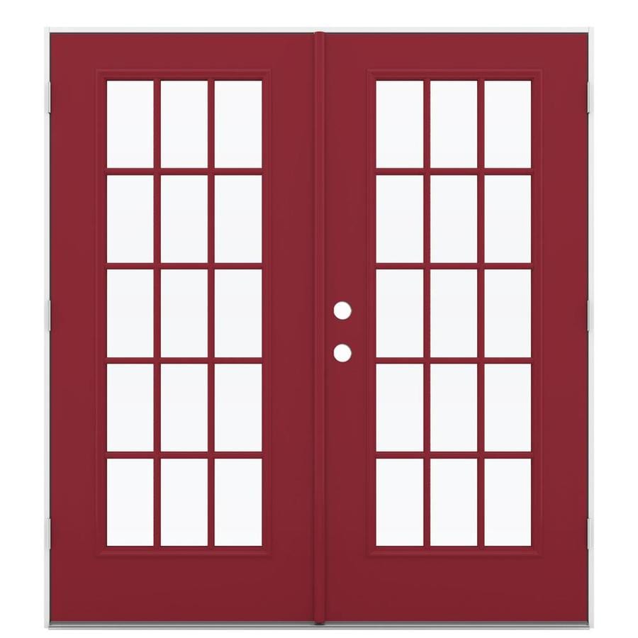 ReliaBilt 71.5-in 15-Lite Glass Roma Red Steel French Outswing Patio Door