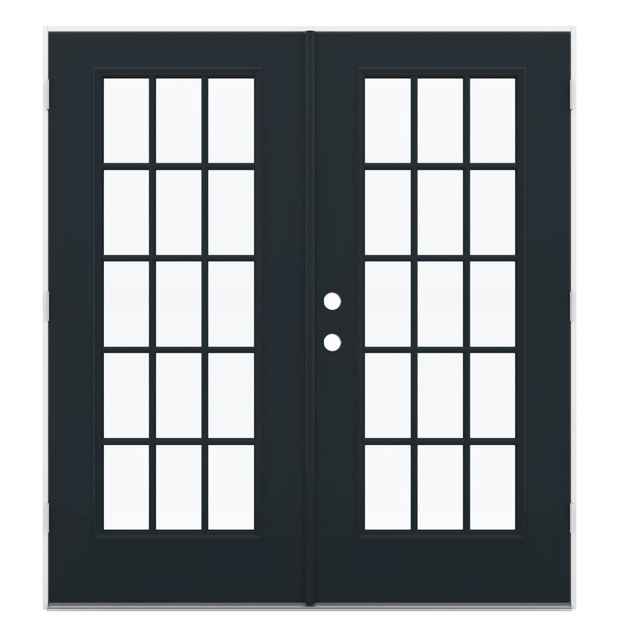 ReliaBilt 71.5-in 15-Lite Glass Eclipse Steel French Outswing Patio Door