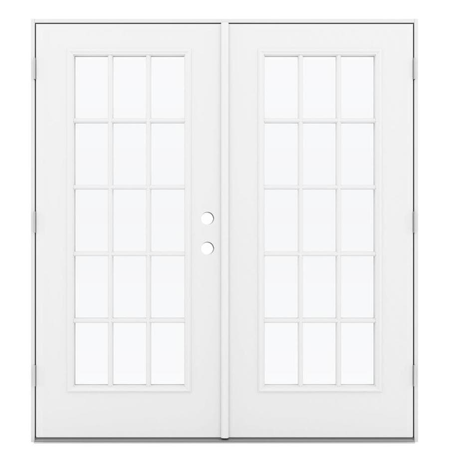 ReliaBilt 71.5-in 15-Lite Glass Primed Steel French Outswing Patio Door