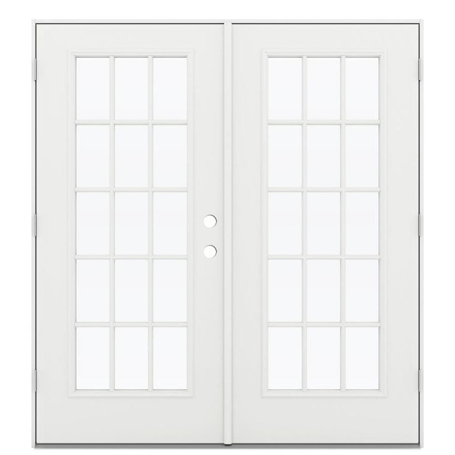 ReliaBilt 71.5-in 15-Lite Glass Arctic White Steel French Outswing Patio Door