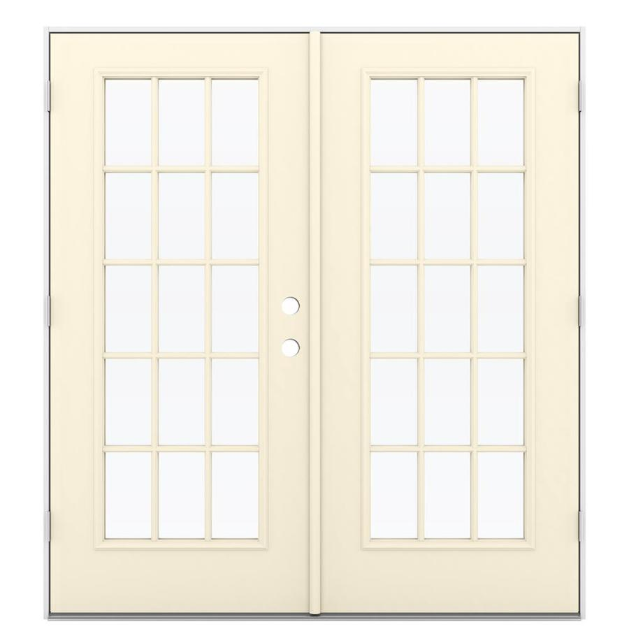 French Exterior Doors Steel: JELD-WEN French Simulated Divided Light Bisque Steel Right