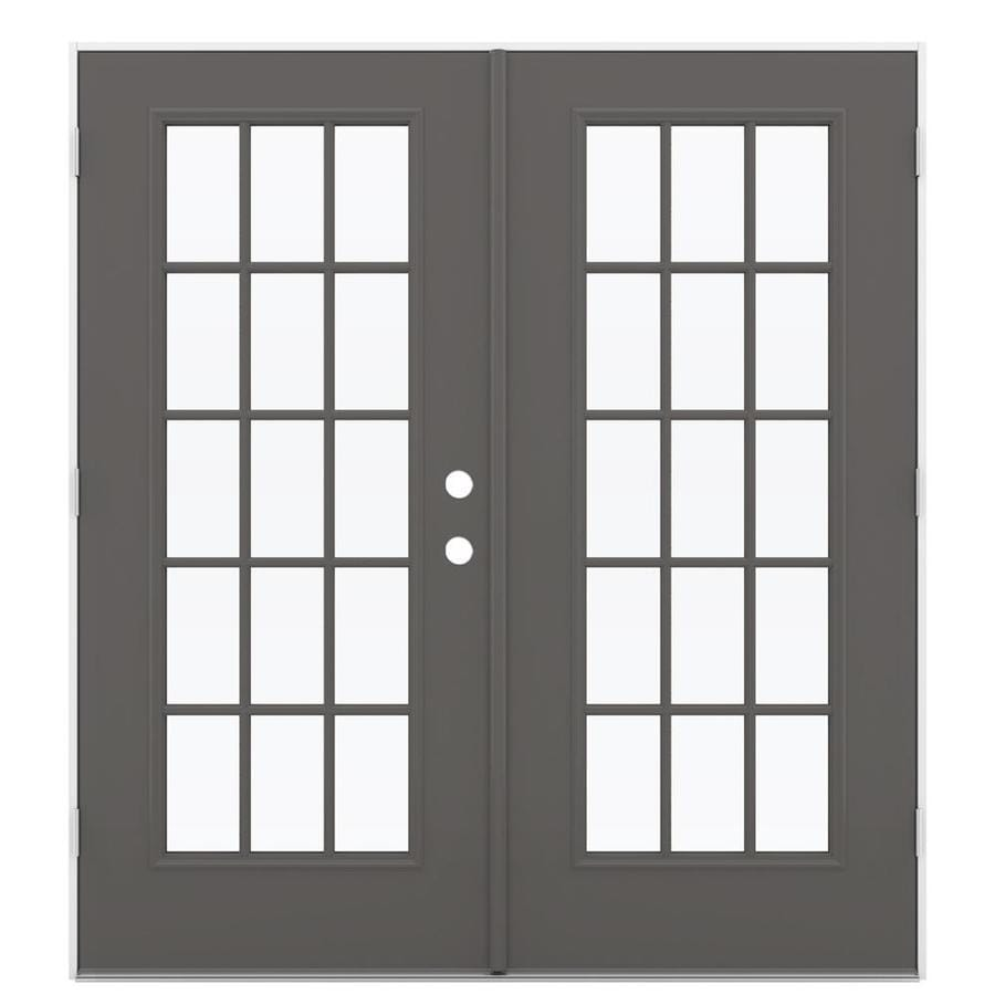 ReliaBilt 71.5-in 15-Lite Glass Timber Gray Steel French Outswing Patio Door