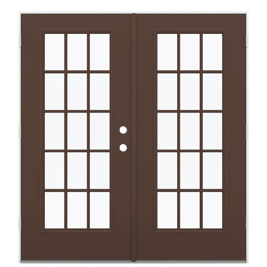 Shop reliabilt 71 5 in 15 lite glass chococate steel for Outswing french doors