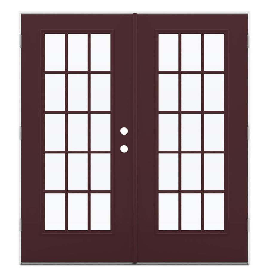 ReliaBilt 71.5-in x 79.5-in Right-Hand Outswing Steel French Patio Door